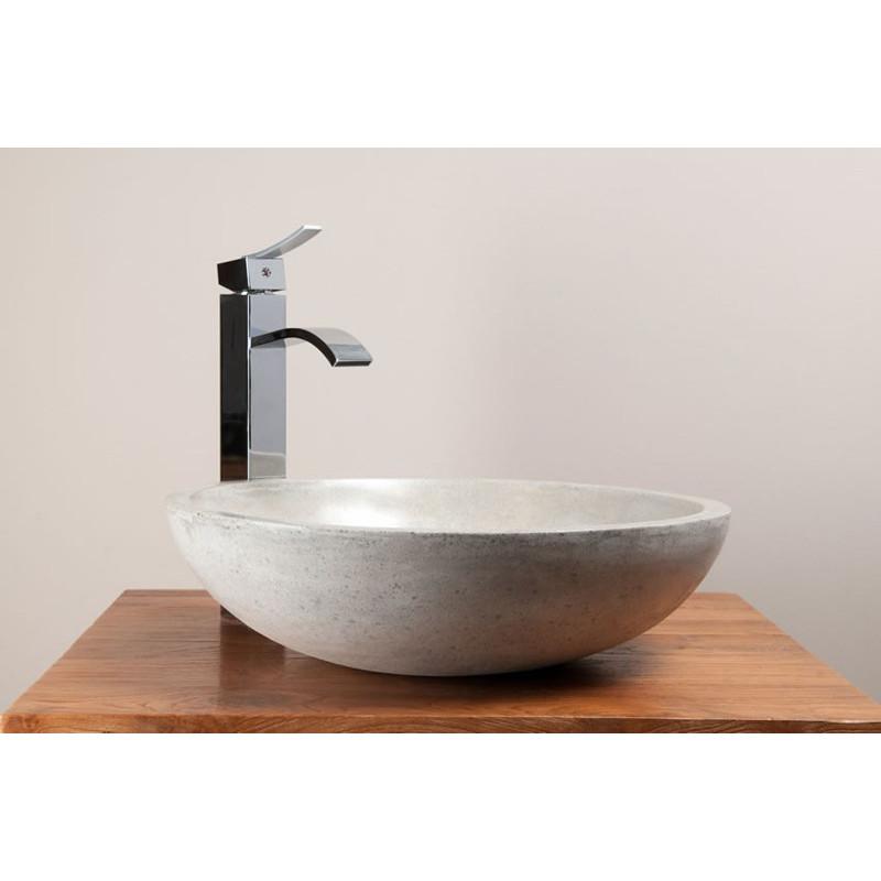 Vasque ronde en béton ciré pour 2 robinets design Kayumanis