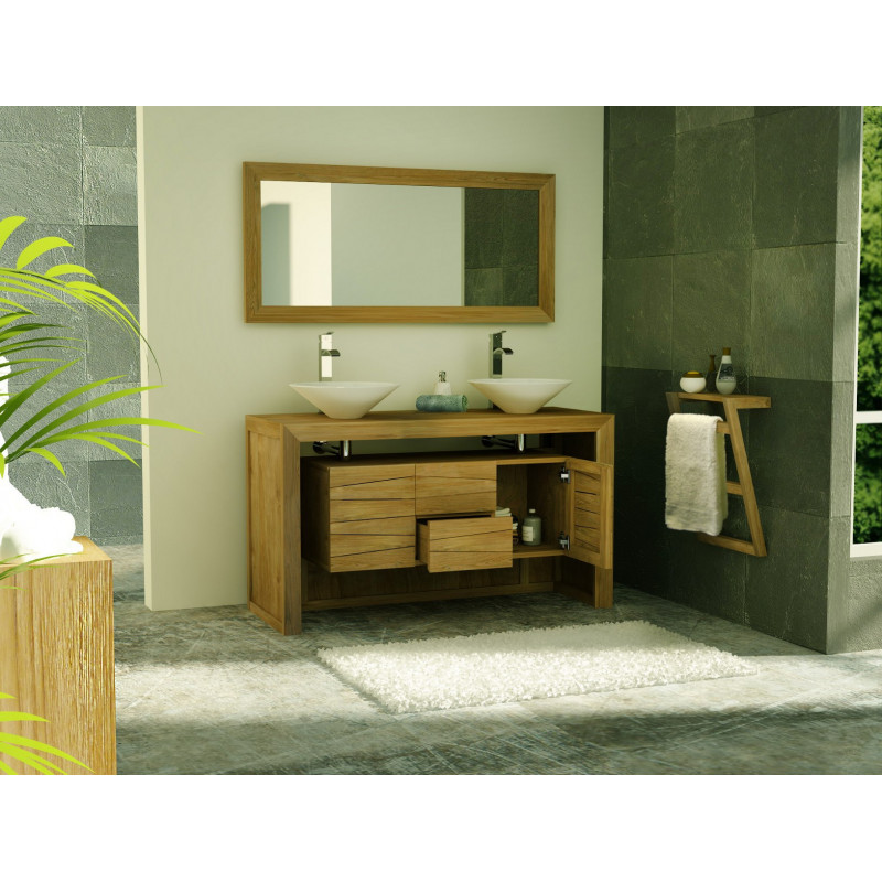 meuble double vasque sentani en teck massif avec 2 tiroirs et 2 portes. Black Bedroom Furniture Sets. Home Design Ideas