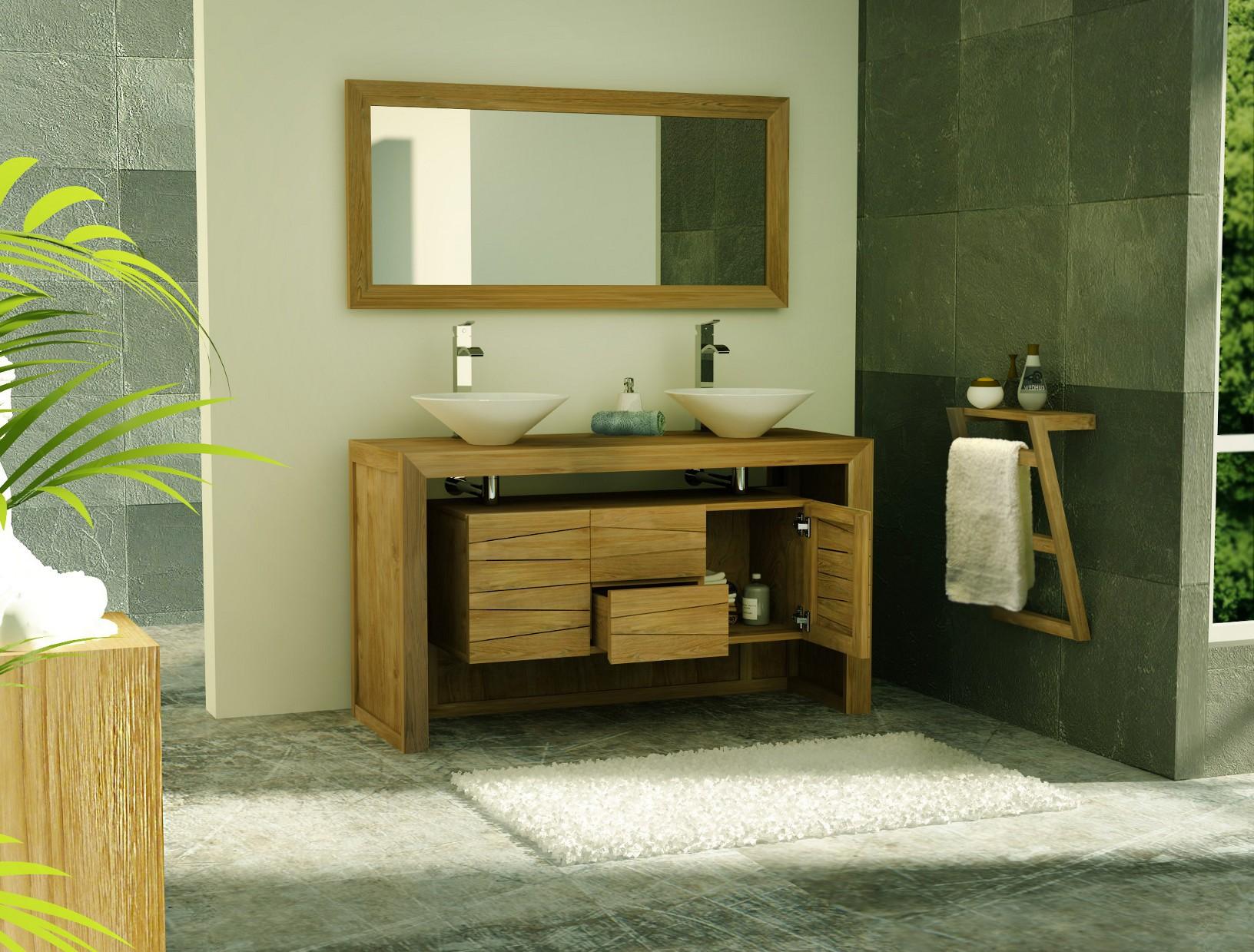 30 superbe meuble salle de bain teck double vasque gst3 for Meuble salle de bain double porte