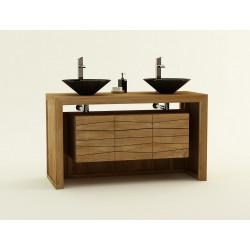 Meuble teck de salle de bain pour 2 vasques à poser - 2 tiroirs et 2 portes Sentani - Design Kayumanis