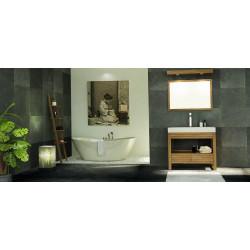 Derawan meuble de salle de bain en teck avec sa vasque béton ciré, son miroir et son bandeau halogène teck