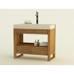Meuble teck salle de bain DERAWAN - 100cm vendu sur www.design-salledebain.fr