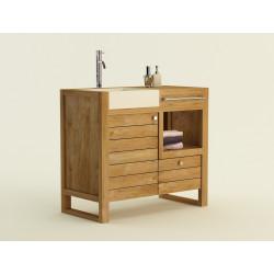 Meuble teck simple vasque encastrée SEBASA Design Salle de Bain Kayumanis