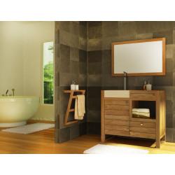 Ensemble Meuble teck simple vasque encastrée SEBASA - miroir et porte-serviette teck de Kayumanis