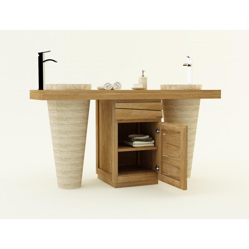 Meuble en teck Timare double vasque et rangement - Mobilier et vasques colonnes Kayumanis