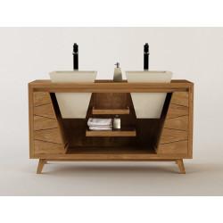 Meuble teck de salle de bain Sena et double vasques encastrées design Kayumanis - 150 cm