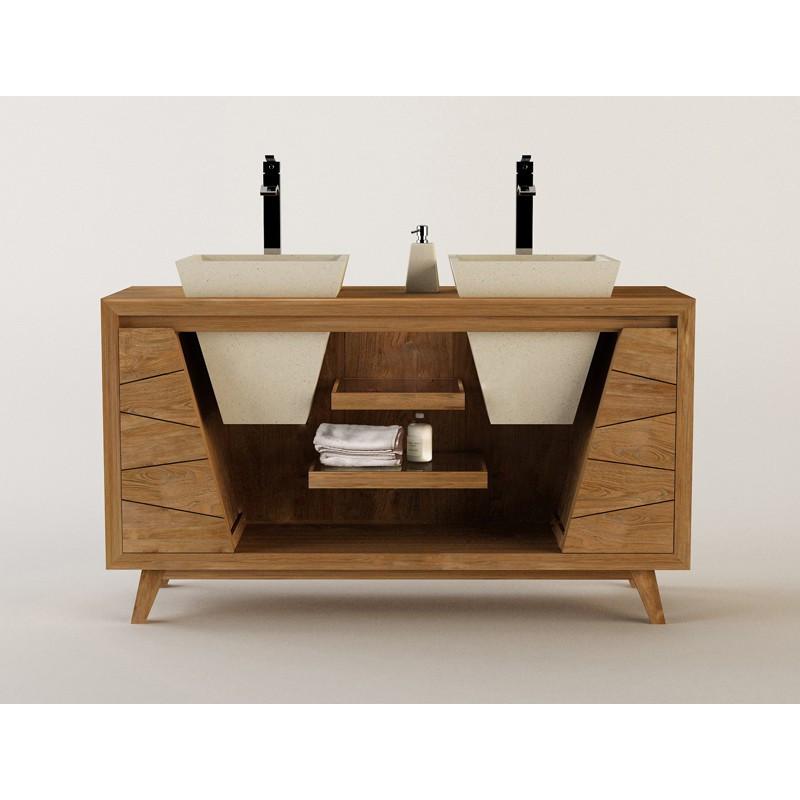Meuble teck salle de bain sena pour double vasque 150cm for Meuble salle de bain teck design