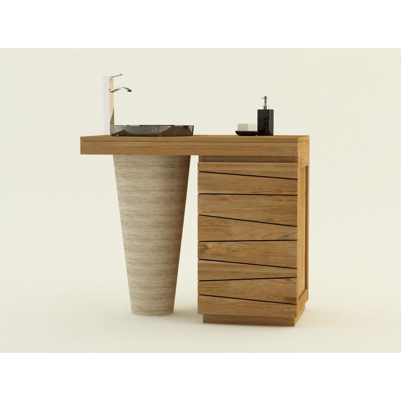 Meuble bois teck salle de bain simple vasque marbre timare kayumanis - Meuble salle de bain en bois massif ...