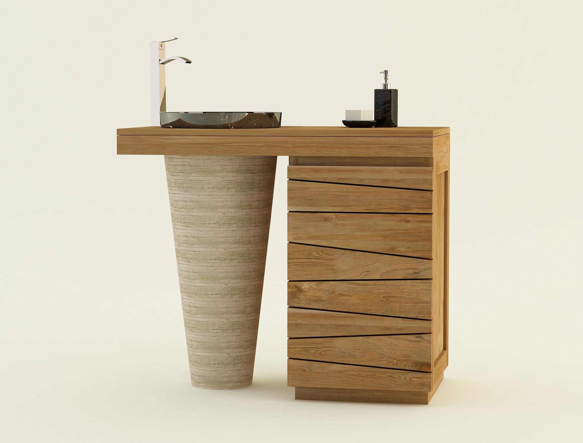 Meuble bois teck salle de bain à simple vasque marbre TIMARE Kayumanis