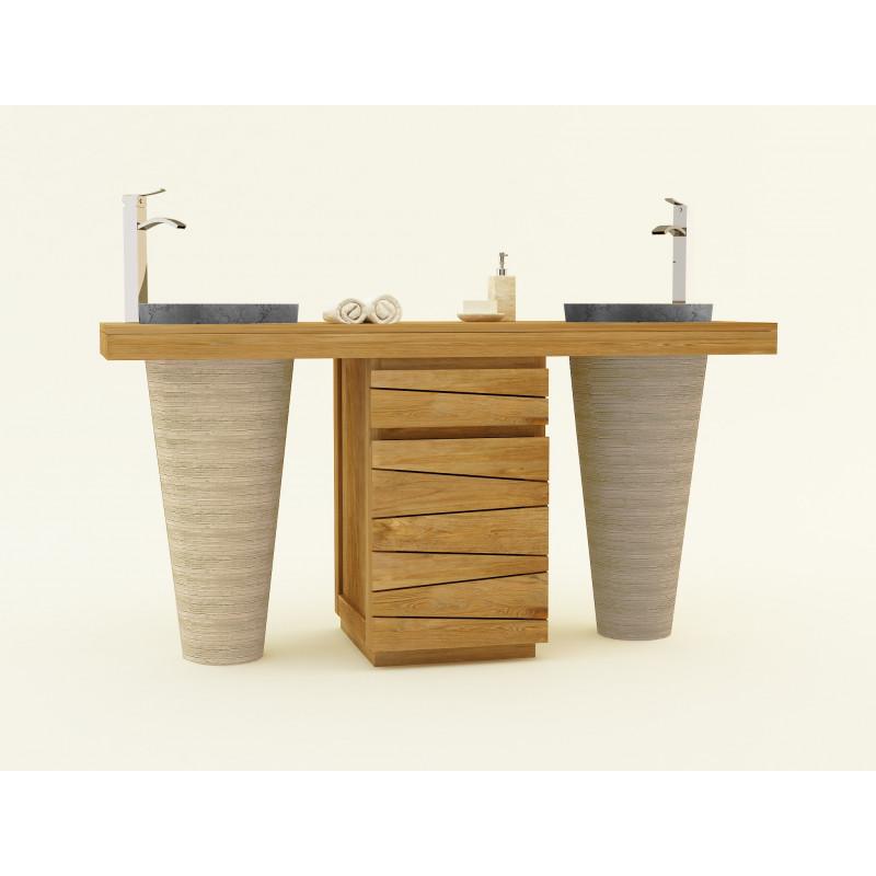 Meuble teck Timare double vasques colonnes - design Kayumanis