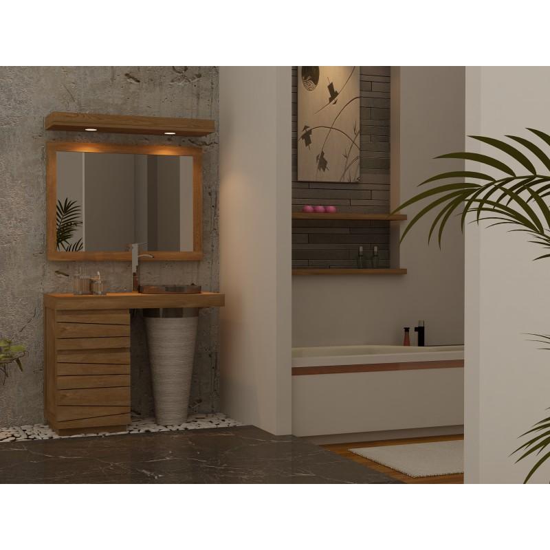 Meuble bois teck salle de bain à simple vasque marbre TIMARE ...