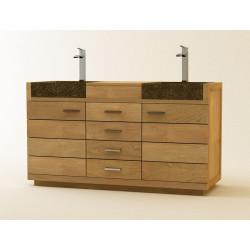 Meuble de salle de bain Talaud en teck massif et 2 vasques en béton ciré - Desing Kayumanis créateur de mobilier de bains bois