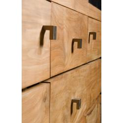 Détail tiroirs meuble teck salle de bain à double vasques modèle Talaud de Kayumanis
