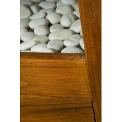 détail du réceptacle décoratif  meuble teck salle de bain Liane design Kayumanis