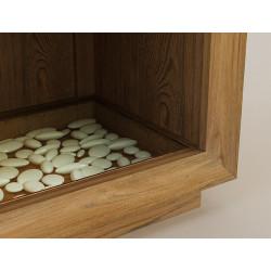 Détail réceptacle du meuble en teck KUPANG pour salle de bain teck deux tiroirs - design Kayumanis