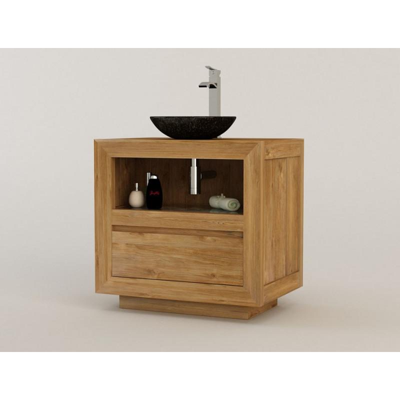 Meuble teck de salle de bain Maros pour simple vasque - Design Kayumanis créateur de mobilier de bain éco-responsable