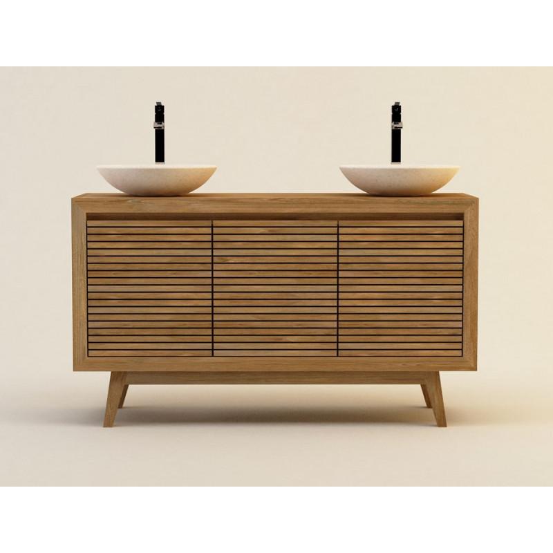 Meuble pour salle de bain en teck massif sikka 140cm for Entretien meuble en teck