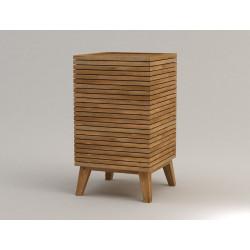 Panière à linge en bois teck massif Kayumanis pour salle de bain zen et design