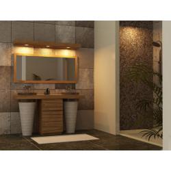Agreable Meuble Salle De Bain Teck Timare, Ses 2 Vasques Marbre, Associé 1 Miroir Et