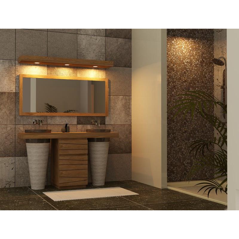 Meuble salle de bain 2 vasques marbre TIMARE réalisé en teck
