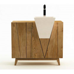 BONERATE - Meuble en teck pour salle de bain à simple vasque - 100 cm - design KAYUMANIS