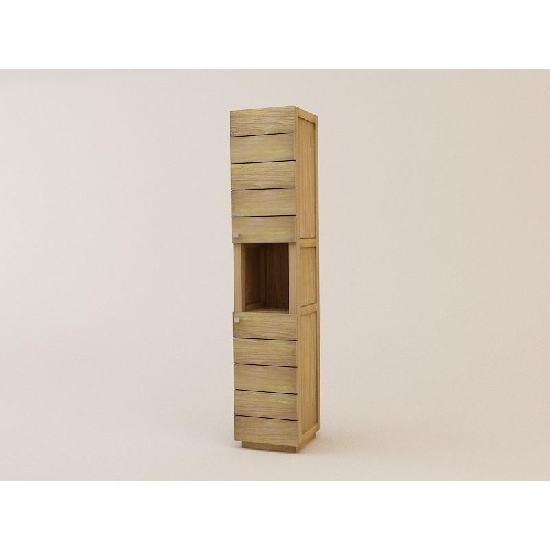 meuble colonne simple en teck rangement pour salle de bain. Black Bedroom Furniture Sets. Home Design Ideas