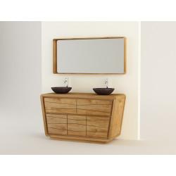 Meuble teck salle de bain incliné 3 portes -140cm