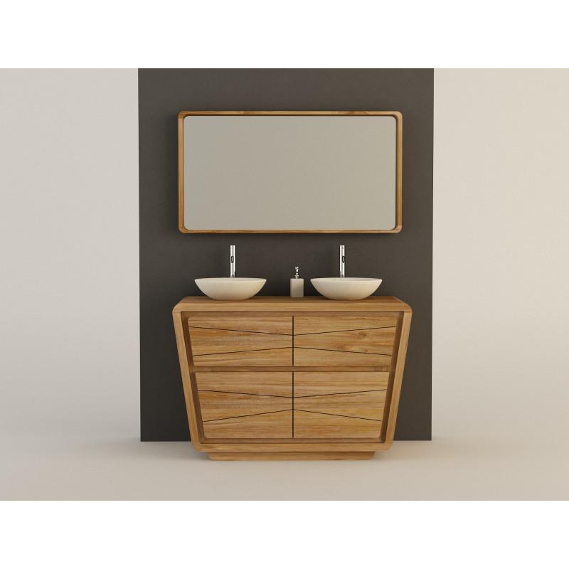 Meuble teck salle de bain incliné 3 portes - 120cm