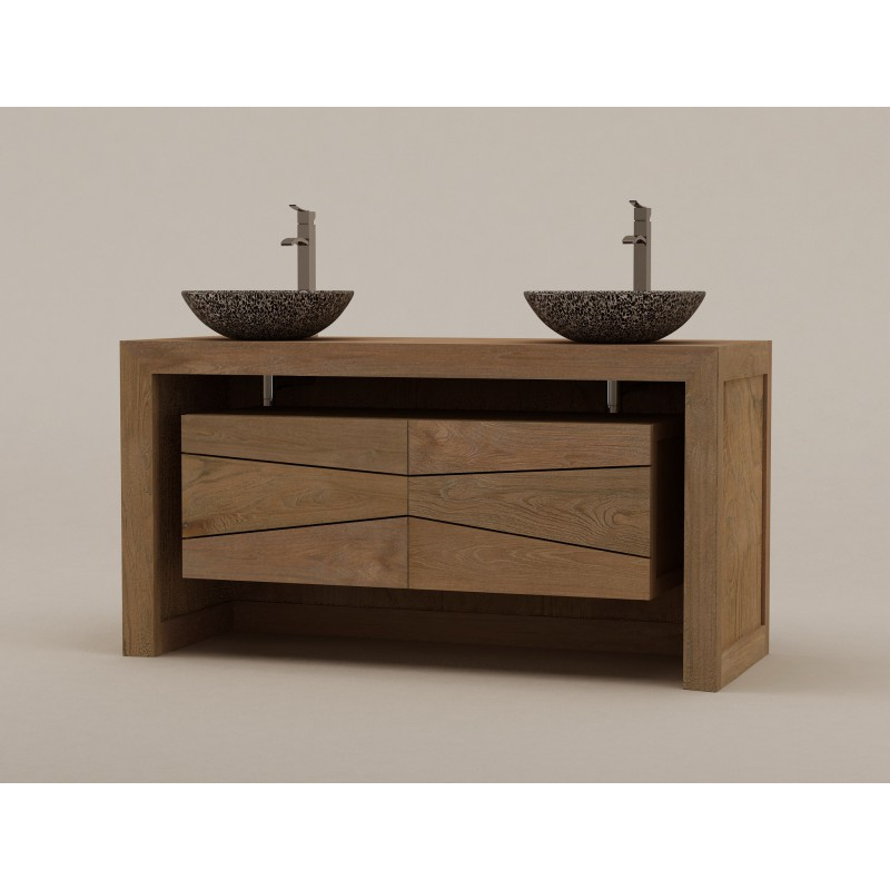 Meuble teck double vasque sentani pour salle de bain design kayumanis - Meuble salle de bain vasque a poser ...
