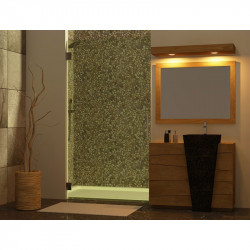 Meuble teck salle de bain Senadung - vasque béton ciré noire - miroir et bandeau halogène en teck - Kayumanis
