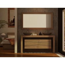 Meuble vasque design Sentani avec miroir en teck