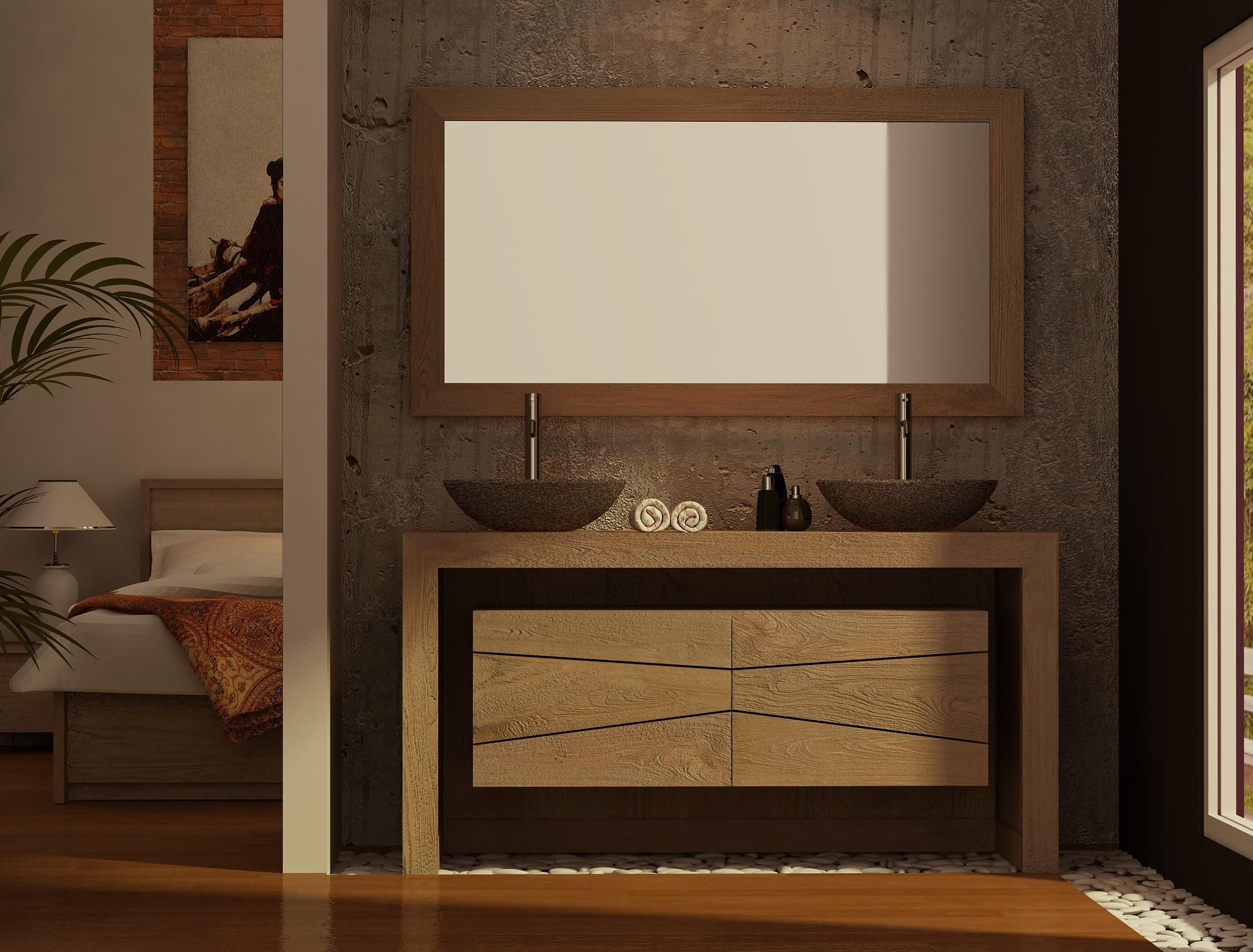 Meuble Teck Double Vasque Sentani Pour Salle De Bain Design Kayumanis