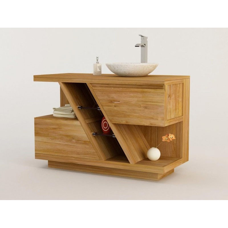 Meuble teck salle de bain DIAGONAL simple vasque - 120cm - design Kayumanis