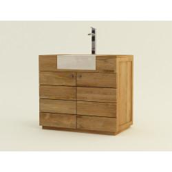 Meuble de salle de bain en teck à simple vasque encastrée Sumba - Design Kayumanis mobilier de bain teck éco-responsable