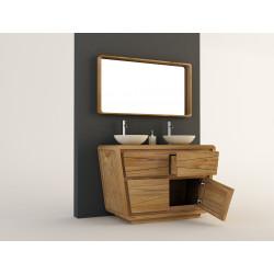 Détail ouverture porte inclinée et tiroir du Meuble en teck de salle de bain MADURA - 120cm - KAYUMANIS