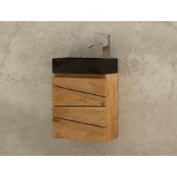 Lave main en teck massif et vasque en béton ciré noire modèle Sentani - mobilier salle de bain Kayumanis