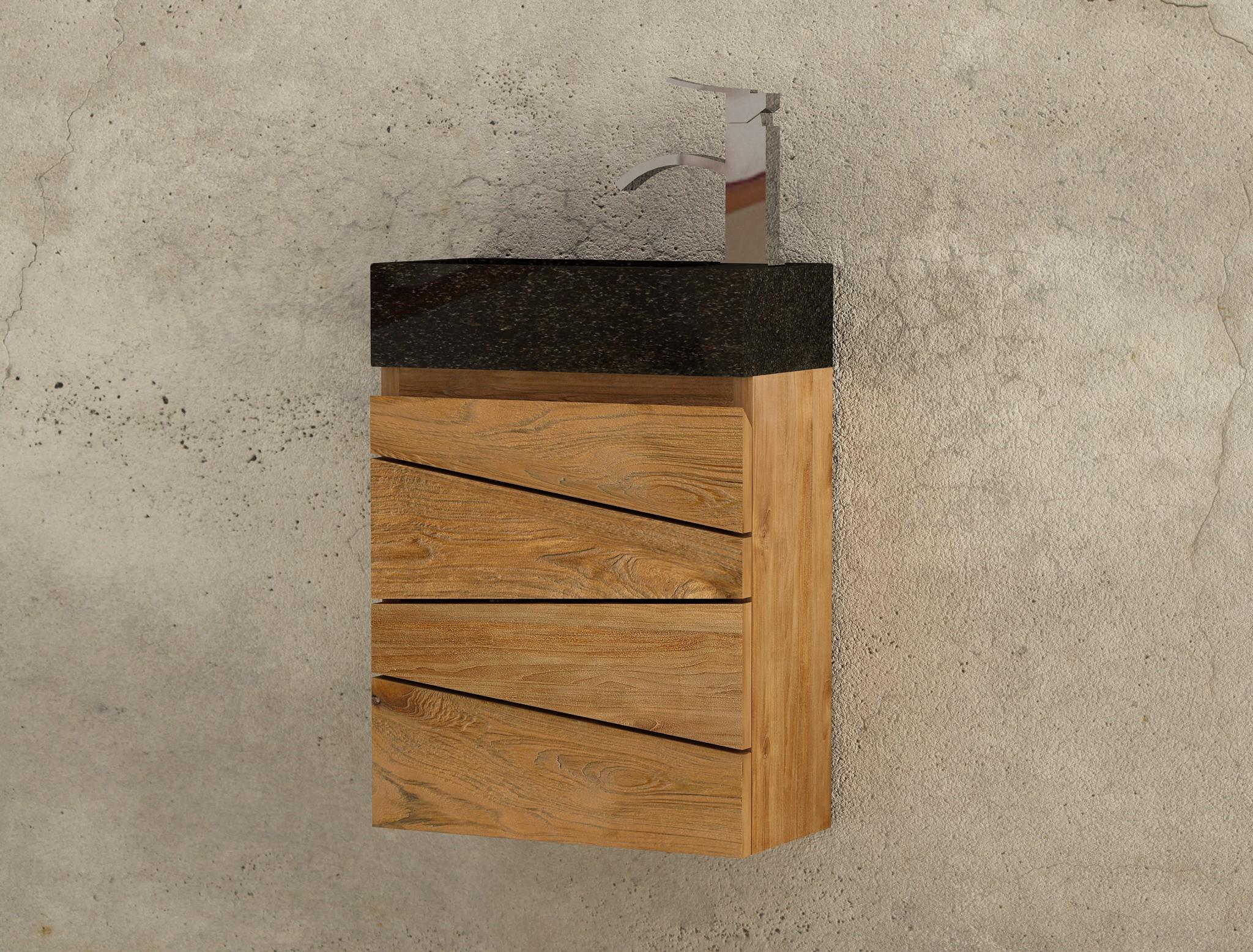 lave main en teck massif et vaque bton cir noire sentani mobilier salle de bain - Meuble Salle De Bain Teck Suspendu