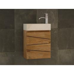 Lave main Sentani en teck massif et vasque béton ciré blanche - mobilier salle de bain Kayumanis