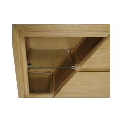 Vue du rangement gauche du meuble teck de salle de bain Ambon de Kayumanis avec 1 étagère en verre et 1 réceptacle