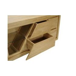 Détail ouverture tiroirs de droite du meuble de salle de bain en teck Ambon 140 cm de Kayumanis