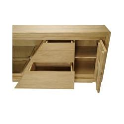 Vue des tiroirs et ouverture porte sur 2 étagères du meuble de salle de bain en teck Ambon 140 cm
