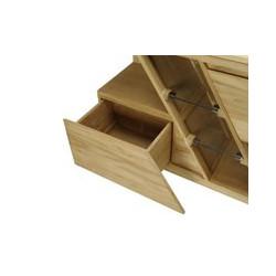 Détail tiroir bas de rangement du meuble de salle de bain en teck DIAGONAL de Kayumanis