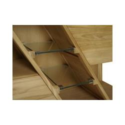 Détail des 2 étagères verre de rangement du Meuble teck de bain Diagonal - 120 cm de Kayumanis