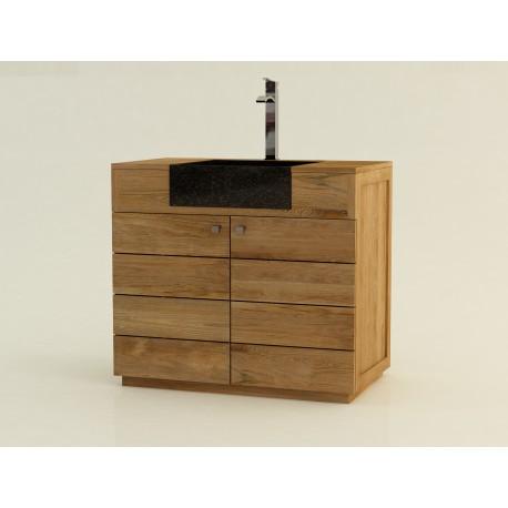 meuble teck salle de bain et vasque b ton cir sumba 2 portes 90cm. Black Bedroom Furniture Sets. Home Design Ideas