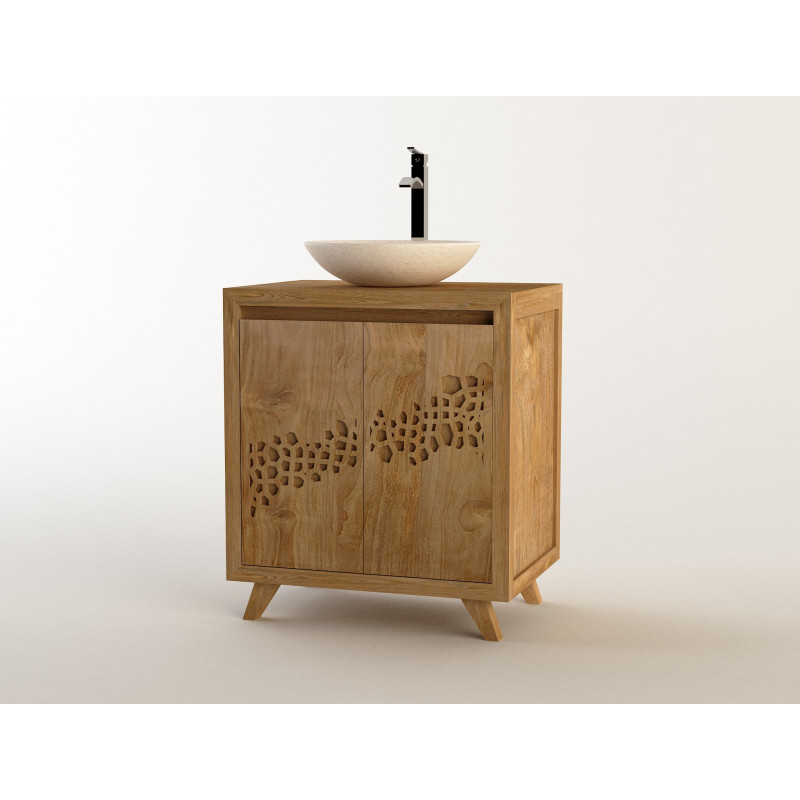 Meuble teck salle de bain SARAGE simple vasque
