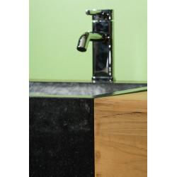 Détail vasque encastrée béton ciré noir meuble teck salle de bain Sumba - Design Kayumanis