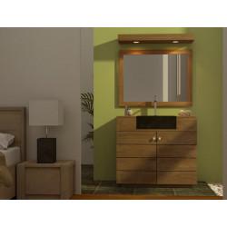 Meuble salle de bain teck à vasque encastrée Sumba avec miroir teck et bandeau halogène teck - Design Kayumanis mobilier de bain