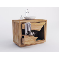 Meuble salle de bain teck massif tiroirs ouvert de Kayumanis