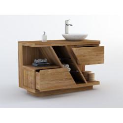 Meuble teck salle de bain DIAGONAL conçu pour 1 vasque à poser et doté de 2 tiroirs - 120cm - Design Kayumanis