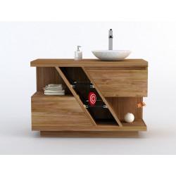 Meuble de salle de bainen teck deux tiroirs Diagonal vu de face - Design Kayumanis